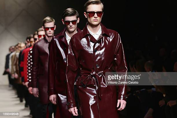 Models walk the runway during the Burberry Prorsum show as part of Milan Fashion Week Menswear Autumn/Winter 2013 on January 12 2013 in Milan Italy