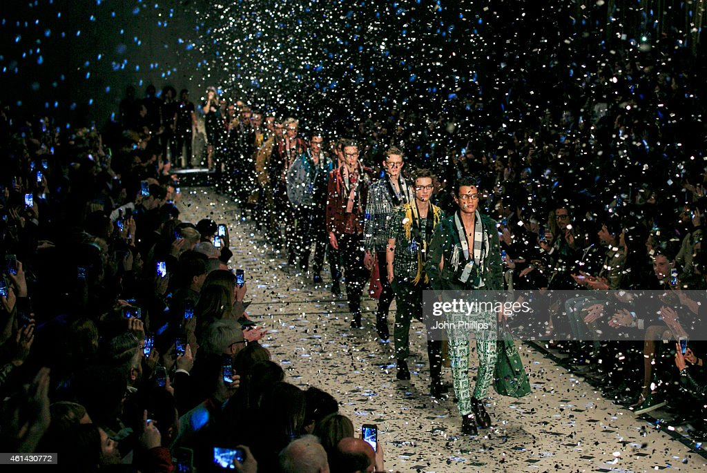 Models walk the runway during the Burberry Prorsum show at the London Collections Men AW15 at on January 12 2015 in London England