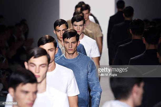 Models walk the runway during the Calvin Klein Collection fashion show as part of Milan Men's Fashion Week Spring/Summer 2016 on June 21 2015 in...