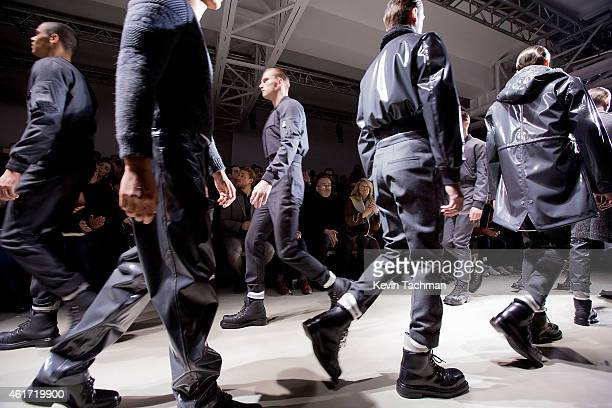 Models walk the runway during the Calvin Klein Collection show as a part of Milan Menswear Fashion Week Fall Winter 2015/2016 on January 18 2015 in...