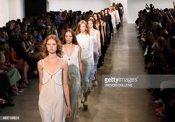 Models walk the runway during the Calvin Klein presentation at New York Fashion Week on September 17 2015 in New York AFP PHOTO/TREVOR COLLENS
