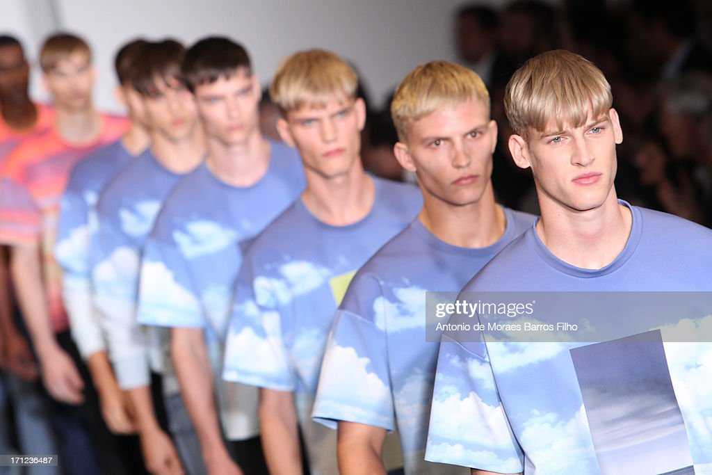 Models walk the runway during the Calvin Klein show as a part of Milan Fashion Week S/S 2014 on June 23, 2013 in Milan, Italy.