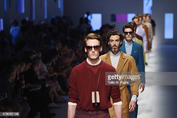 Models walk the runway during the Canali fashion show as part of Milan Men's Fashion Week Spring/Summer 2016 on June 22 2015 in Milan Italy