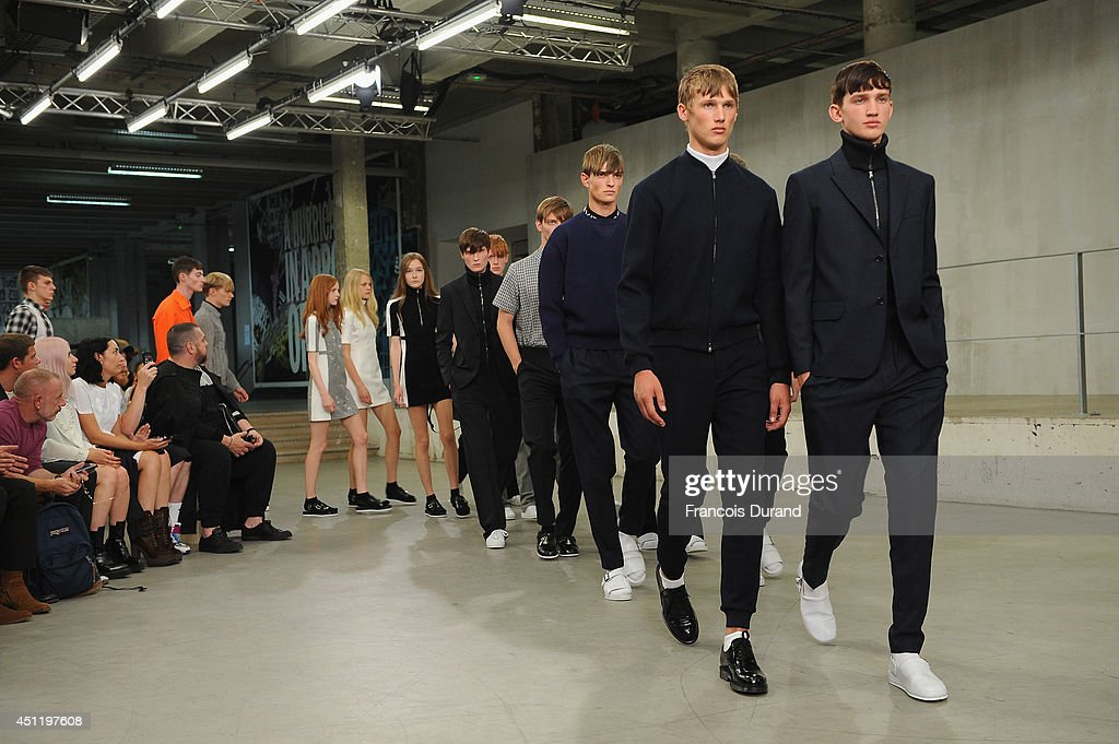 Models walk the runway during the Carven show as part of the Paris Fashion Week Menswear Spring/Summer 2015 on June 25, 2014 in Paris, France.