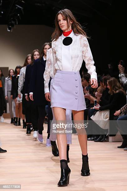 Models walk the runway during the Carven show as part of the Paris Fashion Week Womenswear Fall/Winter 2015/2016 at Espace Ephemere des Tuileries on...