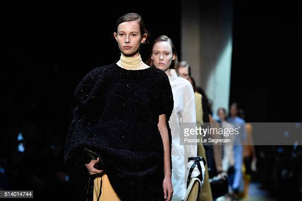 Models walk the runway during the Celine show as part of the Paris Fashion Week Womenswear Fall/Winter 2016/2017 on March 6 2016 in Paris France