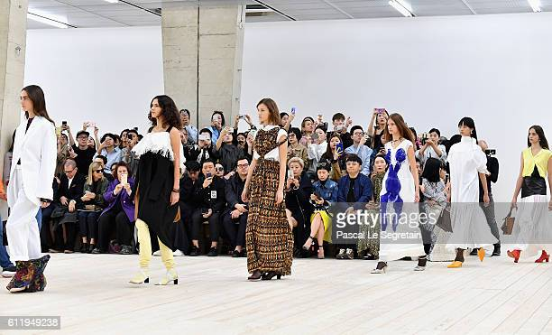 Models walk the runway during the Celine show as part of the Paris Fashion Week Womenswear Spring/Summer 2017 on October 2 2016 in Paris France