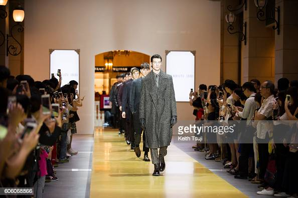 Models walk the runway during the CERRUTI 1881 show during the Front Row at Shoppes at Parisian on September 16 2016 in Macau Macau