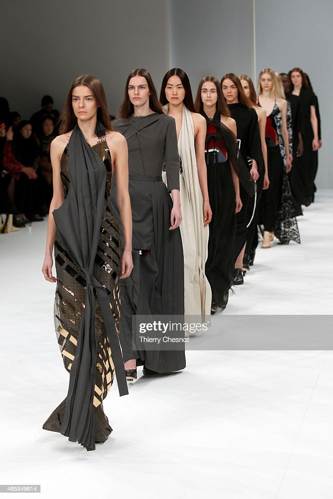 Models walk the runway during the Chalayan show as part of the Paris Fashion Week Womenswear Fall/Winter 2015/2016 on March 6, 2015 in Paris, France.