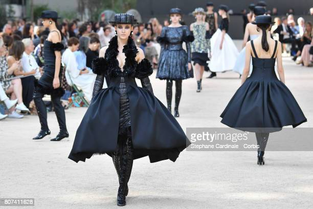 Models walk the runway during the Chanel Haute Couture Fall/Winter 20172018 show as part of Haute Couture Paris Fashion Week on July 4 2017 in Paris...