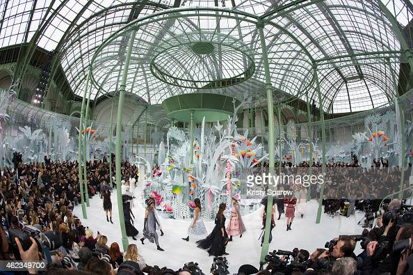 Models walk the runway during the Chanel show as part of Paris Fashion Week Haute Couture Spring/Summer 2015 at the Grand Palais on January 27 2015...