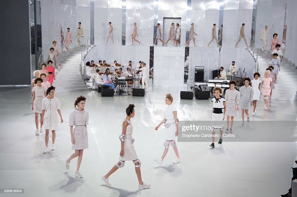 Models walk the runway during the Chanel show as part of Paris Fashion Week Haute-Couture Spring/Summer 2014, at Grand Palais in Paris.