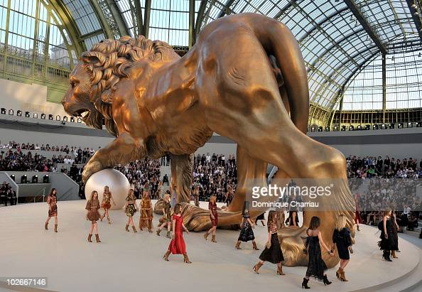 Models walk the runway during the Chanel show as part of the Paris Haute Couture Fashion Week Fall/Winter 2011 at Grand Palais on July 6 2010 in...
