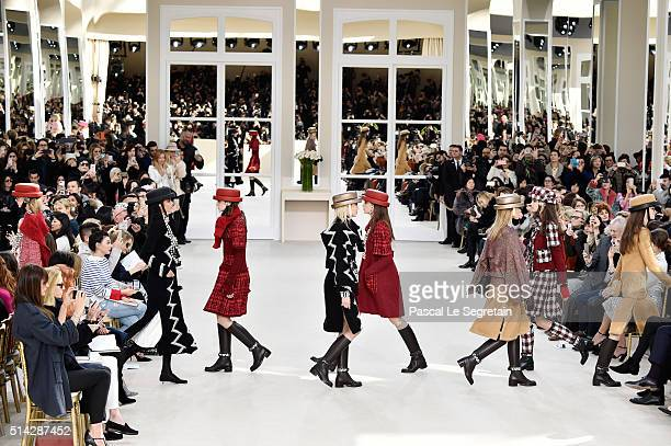 Models walk the runway during the Chanel show as part of the Paris Fashion Week Womenswear Fall/Winter 2016/2017 on March 8 2016 in Paris France