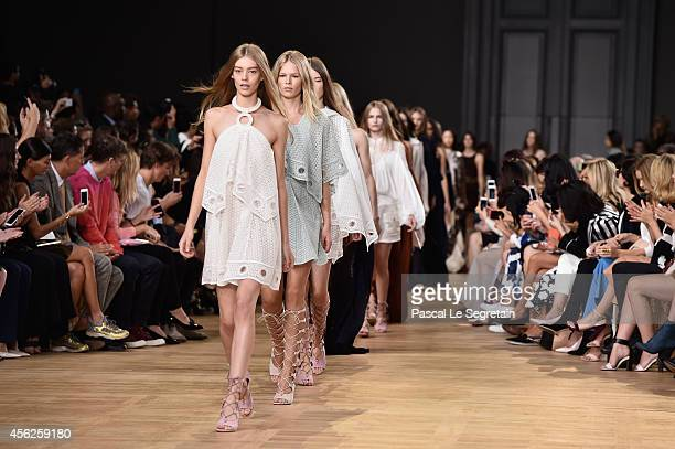 Models walk the runway during the Chloe show as part of the Paris Fashion Week Womenswear Spring/Summer 2015 on September 28 2014 in Paris France