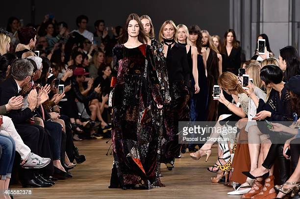 Models walk the runway during the Chloe show as part of the Paris Fashion Week Womenswear Fall/Winter 2015/2016 on March 8 2015 in Paris France