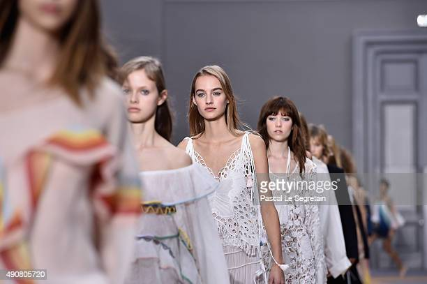 Models walk the runway during the Chloe show as part of the Paris Fashion Week Womenswear Spring/Summer 2016 on October 1 2015 in Paris France