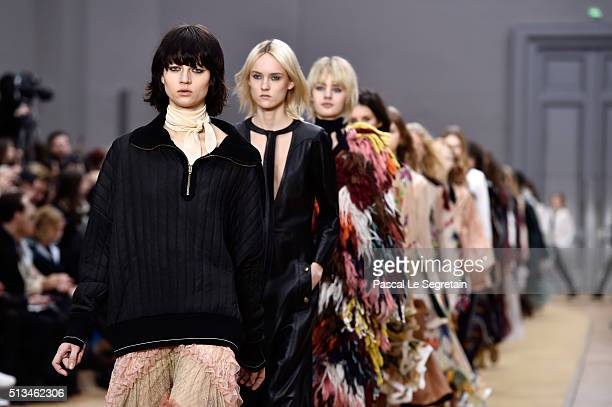 Models walk the runway during the Chloe show as part of the Paris Fashion Week Womenswear Fall/Winter 2016/2017 on March 3 2016 in Paris France