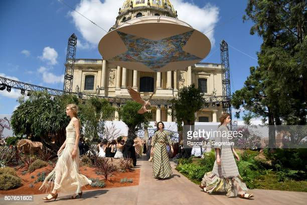 Models walk the runway during the Christian Dior Haute Couture Fall/Winter 20172018 show as part of Haute Couture Paris Fashion Week on July 3 2017...