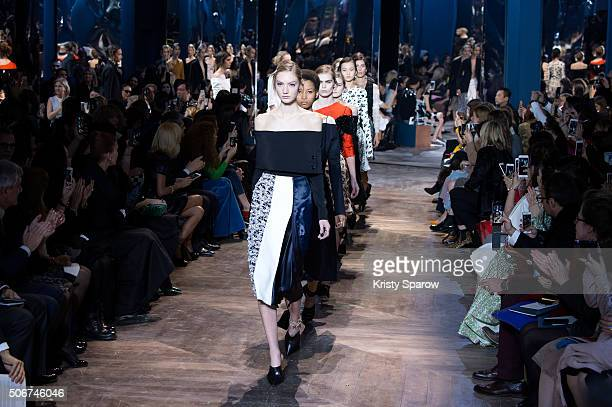 Models walk the runway during the Christian Dior Haute Couture Spring Summer 2016 show as part of Paris Fashion Week on January 25 2016 in Paris...