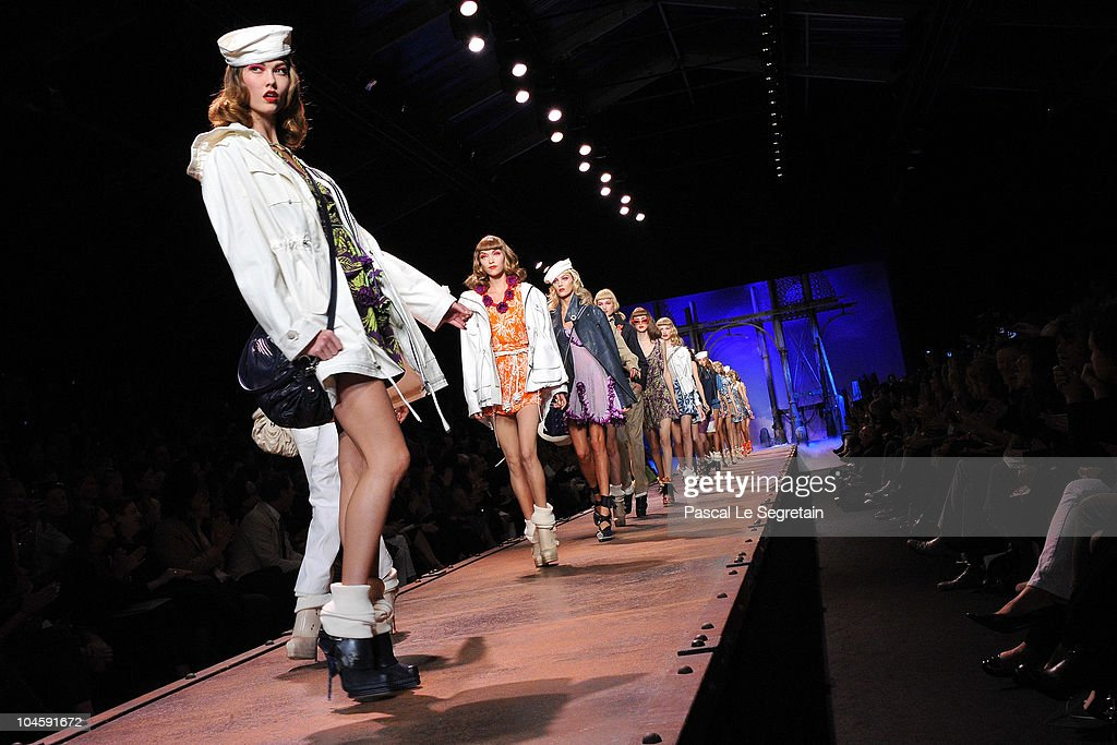 Models walk the runway during the Christian Dior Ready to Wear Spring/Summer 2011 show during Paris Fashion Week at Espace Ephemere Tuileries on October 1, 2010 in Paris, France.