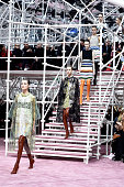 Models walk the runway during the Christian Dior show as part of Paris Fashion Week Haute Couture Spring/Summer 2015 on January 26 2015 in Paris...