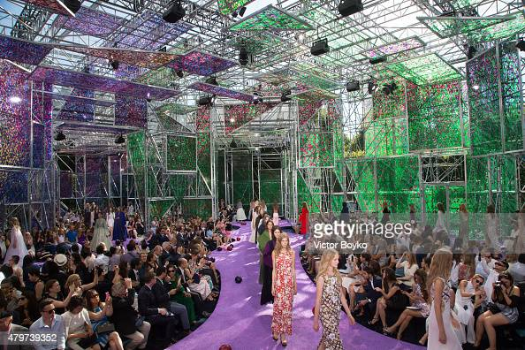 Models walk the runway during the Christian Dior show as part of Paris Fashion Week Haute Couture Fall/Winter 2015/2016 on July 6 2015 in Paris France