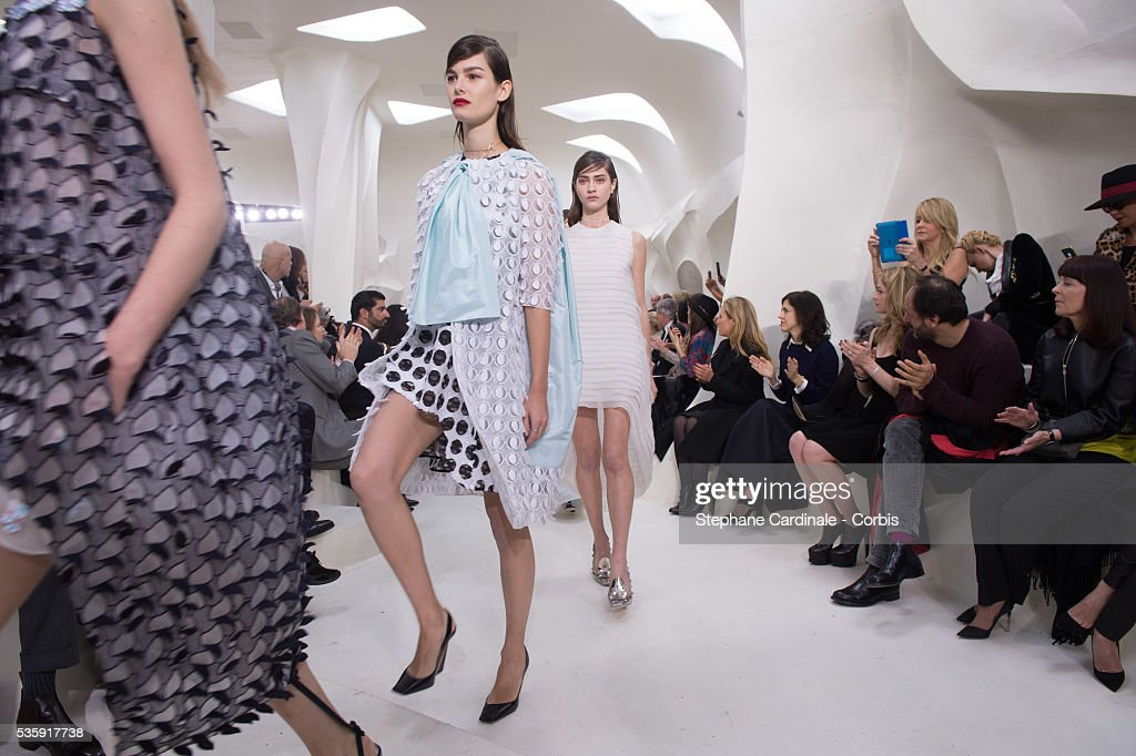 Models walk the runway during the Christian Dior show as part of Paris Fashion Week Haute Couture Spring/Summer 2014, in Paris.