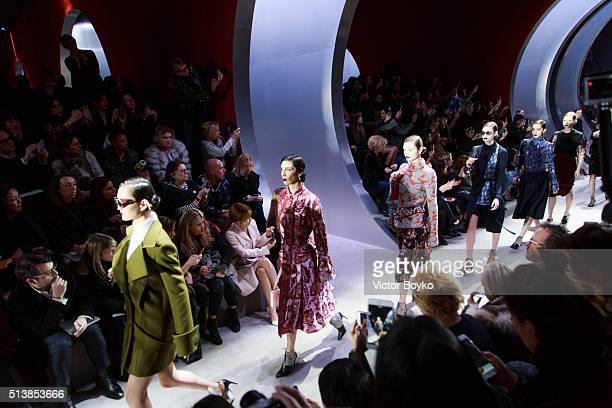 Models walk the runway during the Christian Dior show as part of the Paris Fashion Week Womenswear Fall/Winter 2016/2017 on March 4 2016 in Paris...
