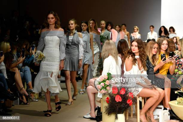 Models walk the runway during the C/meo Collective show at MercedesBenz Fashion Week Resort 18 Collections at Carriageworks on May 17 2017 in Sydney...