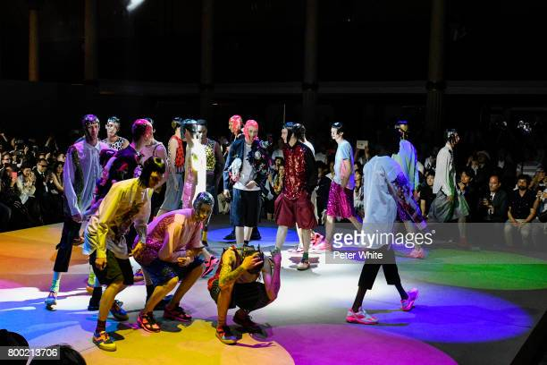 Models walk the runway during the Comme Des Garcons Homme Plus Menswear Spring/Summer 2018 show as part of Paris Fashion Week on June 23 2017 in...