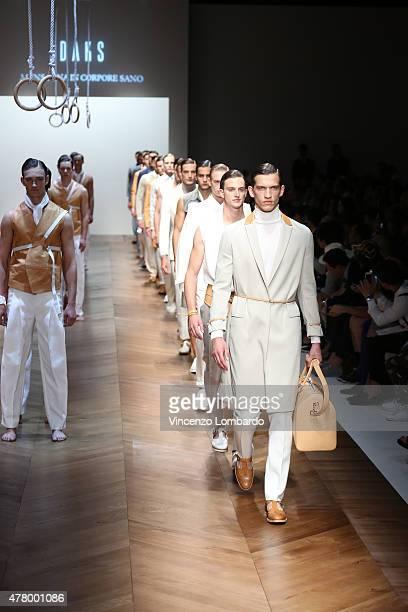 Models walk the runway during the Daks fashion show as part of Milan Men's Fashion Week Spring/Summer 2016 on June 21 2015 in Milan Italy