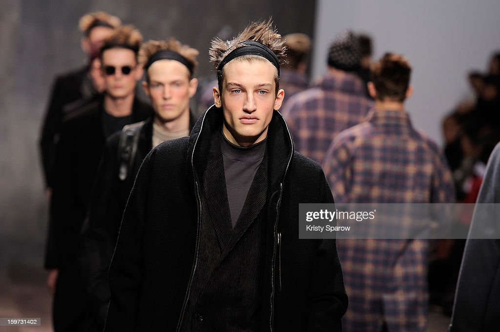 Models walk the runway during the Damir Doma Menswear Autumn / Winter 2013/14 show as part of Paris Fashion Week on January 19, 2013 in Paris, France.