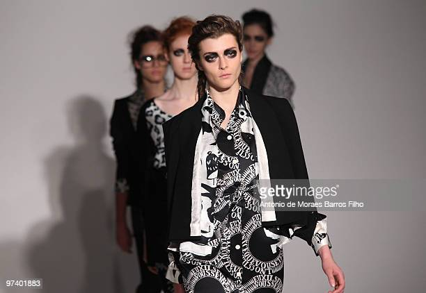 Models walk the runway during the Devastee Ready to Wear show as part of the Paris Womenswear Fashion Week Fall/Winter 2011 at BETC EURO RSCG on...