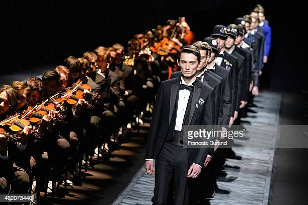 Models walk the runway during the Dior Homme Menswear Fall/Winter 20152016 show as part of Paris Fashion Week on January 24 2015 in Paris France