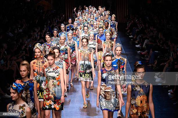 Models walk the runway during the Dolce Gabbana fashion show as part of Milan Fashion Week Spring/Summer 2016 on September 27 2015 in Milan Italy