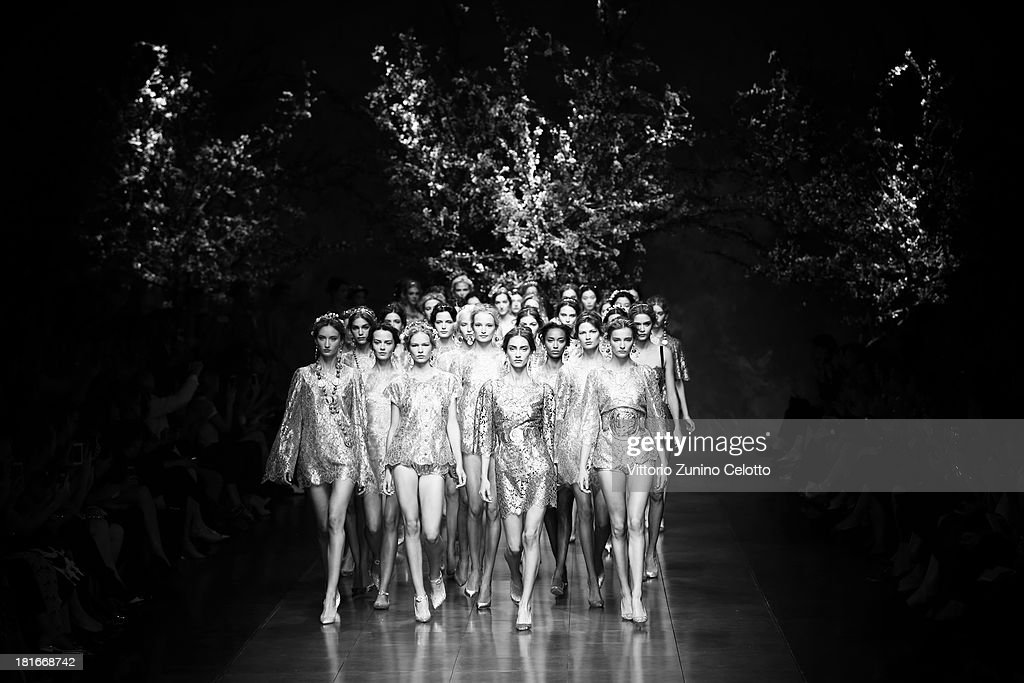 Models walk the runway during the Dolce & Gabbana show as part of Milan Fashion Week Womenswear Spring/Summer 2014 on September 22, 2013 in Milan, Italy.