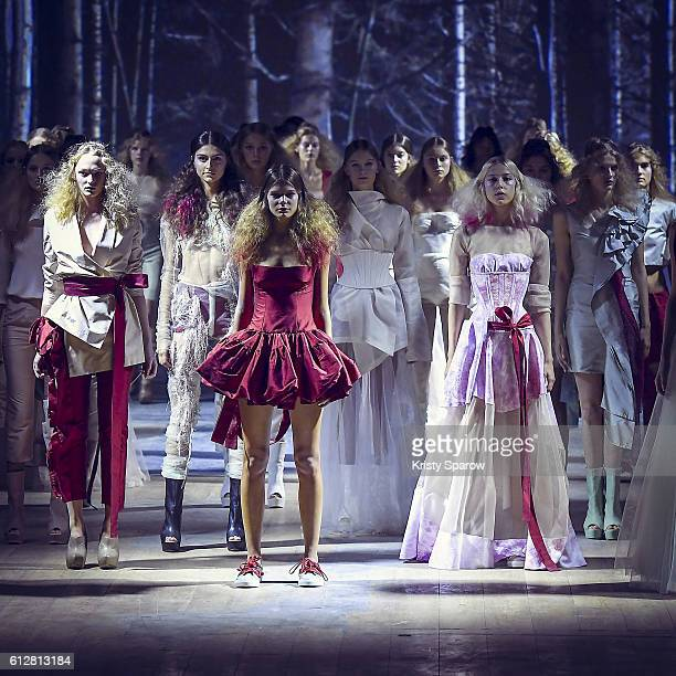 Models walk the runway during the Dorhout Mees show as part of Paris Fashion Week Womenswear Spring/Summer 2017 on October 2 2016 in Paris France