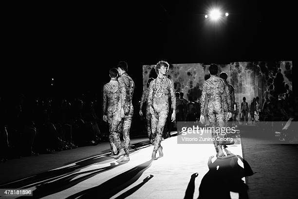 Models walk the runway during the DSquared2 show as part of Milan Men's Fashion Week Spring/Summer 2016 on June 23 2015 in Milan Italy