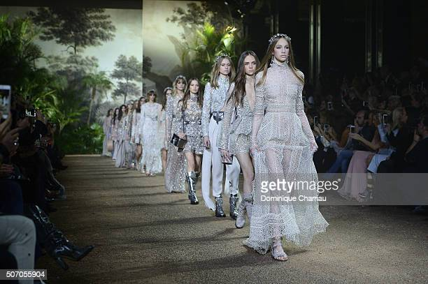 Models walk the runway during the Elie Saab Haute Couture Spring Summer 2016 show as part of Paris Fashion Week on January 27 2016 in Paris France