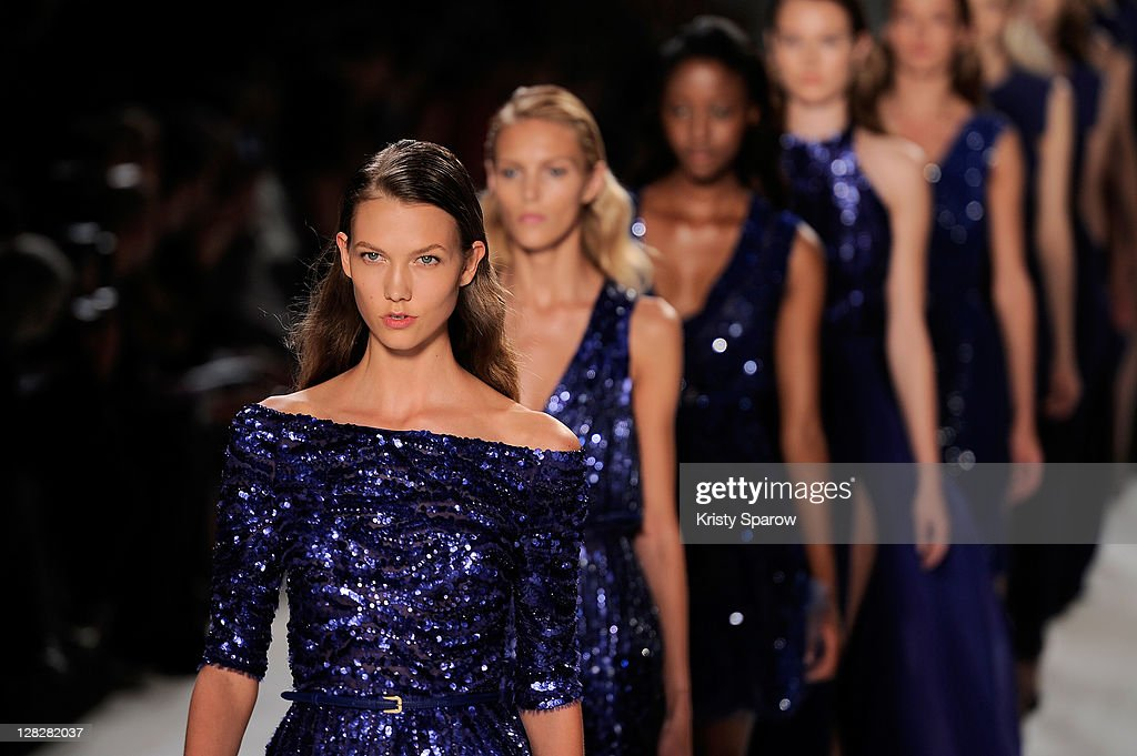 Models walk the runway during the Elie Saab Ready to Wear Spring / Summer 2012 show during Paris Fashion Week at Espace Ephemere Tuileries on October 5, 2011 in Paris, France.