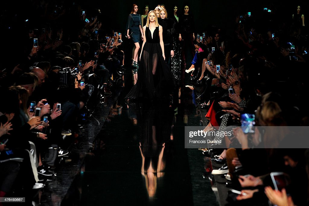 Models walk the runway during the Elie Saab show as part of the Paris Fashion Week Womenswear Fall/Winter 2014-2015 on March 3, 2014 in Paris, France.