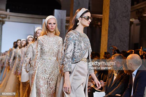 Models walk the runway during the Elie Saab Spring Summer 2017 show as part of Paris Fashion Week on January 25 2017 in Paris France