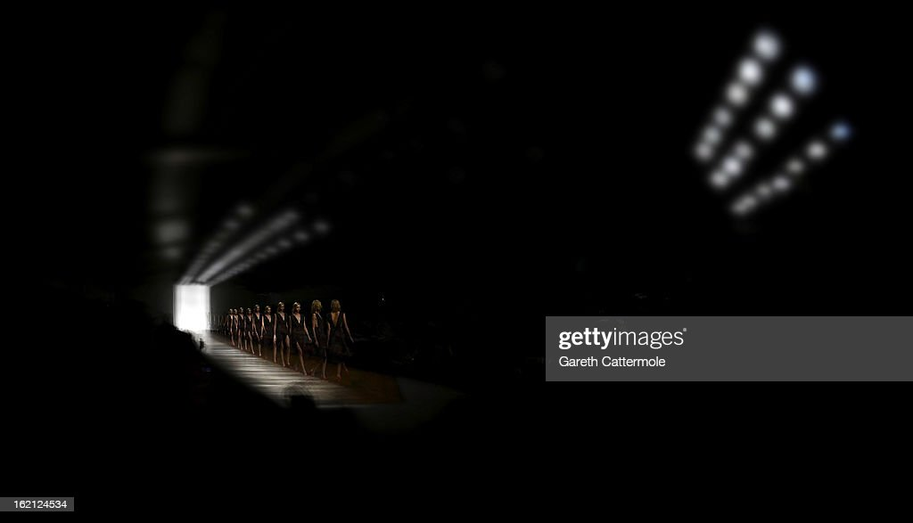 Models walk the runway during the Emilio de la Morena show as part of London Fashion Week Fall/Winter 2013/14 on February 19, 2013 in London, England.