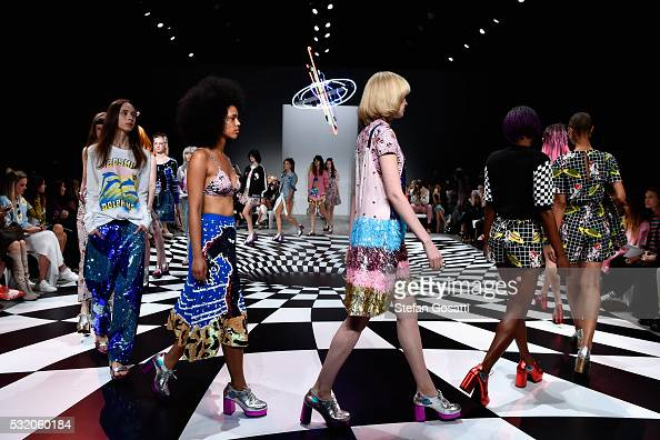 Models walk the runway during the Emma Mulholland show at MercedesBenz Fashion Week Resort 17 Collections at Carriageworks on May 18 2016 in Sydney...