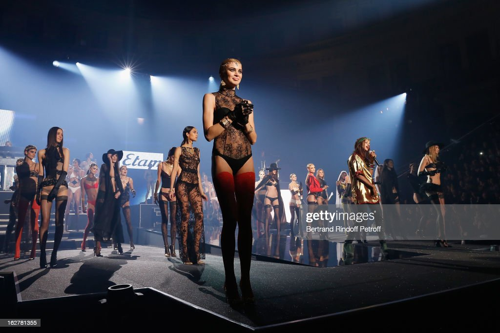 Models walk the runway during the Etam Live Show Lingerie at Bourse du Commerce on February 26, 2013 in Paris, France.