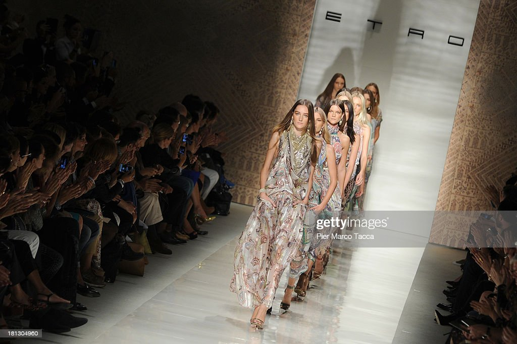 Models walk the runway during the Etro show as a part of Milan Fashion Week Womenswear Spring/Summer 2014 on September 20, 2013 in Milan, Italy.