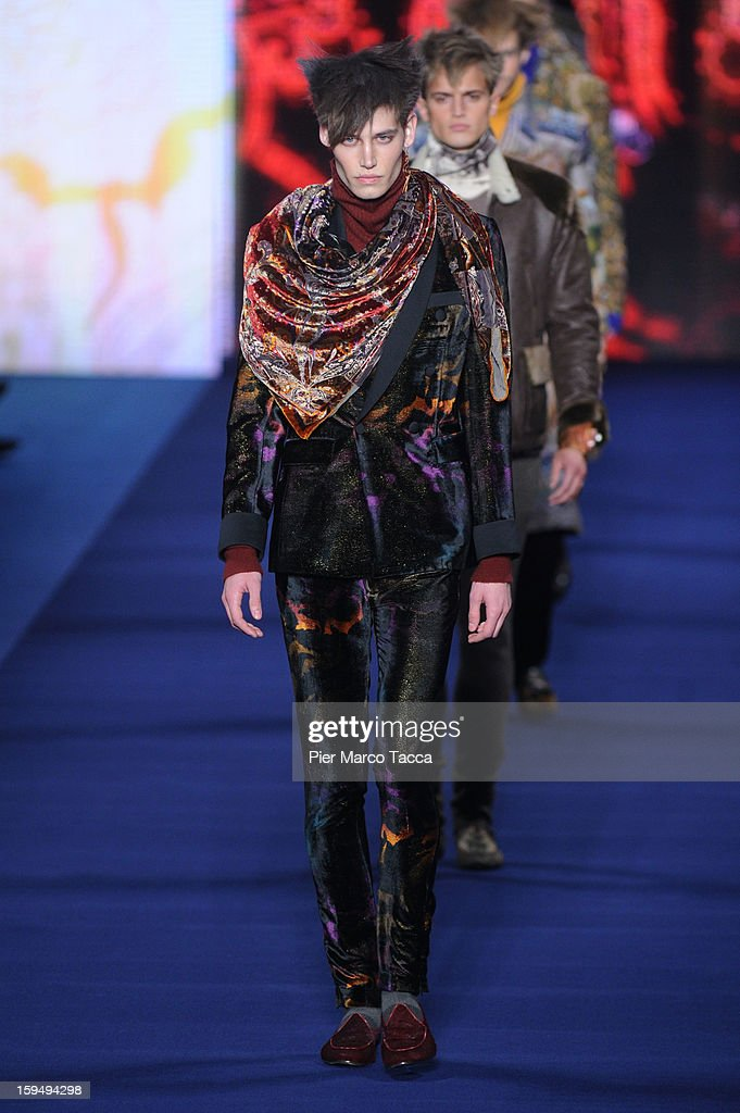 Models walk the runway during the Etro show as part of Milan Fashion Week Menswear Autumn/Winter 2013 on January 14, 2013 in Milan, Italy.