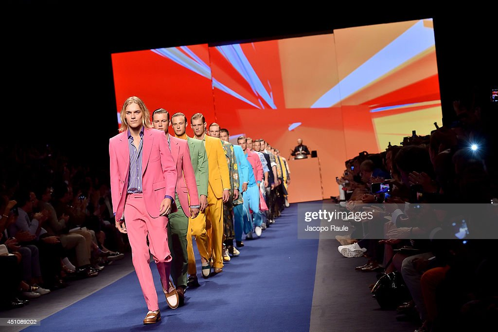 Models walk the runway during the Etro show as part of Milan Fashion Week Menswear Spring/Summer 2015 on June 23, 2014 in Milan, Italy.