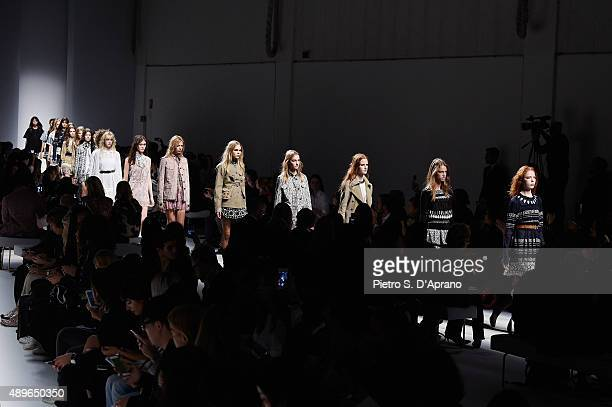 A models walk the runway during the Fay show during the Milan Fashion Week Spring/Summer 2016 on September 23 2015 in Milan Italy